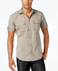 Inc International Concepts Men's Helix Short Sleeve Shirt Only At Macy's City Taupe