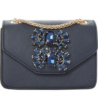 Dune Samia Micro Jewelled Shoulder Bag Navy Plain Synthetic