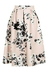 Wal G Floral Scuba Pleated Midi Skirt By Pink