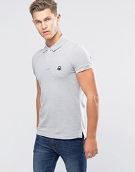 United Colors Of Benetton Pique Polo Shirt In Slim Fit Grey 501