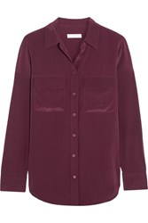 Equipment Slim Signature Washed Silk Shirt Plum