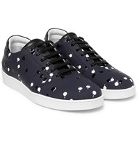 Want Les Essentiels Lennon Leather Trimmed Rubber Sneakers Midnight Blue