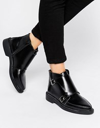 T.U.K. Jam Strap Leather Flat Ankle Boots Black Leather