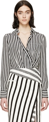 Altuzarra White And Black Crepe Striped Candide Bodysuit