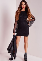 Missguided Sheer Sleeve Lace Bodycon Dress Black Black
