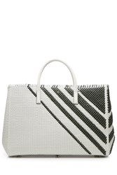 Anya Hindmarch Diamonds Maxi Featherweight Ebury Woven Leather Tote White