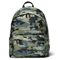 Camouflage Print Canvas Backpack Green