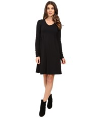 Mod O Doc Cotton Modal Spandex Jersey Princess Shirred V Neck Dress Black Women's Dress