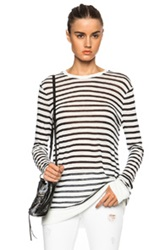 T By Alexander Wang Stripe Linen Blend Tee In Blue White Stripes