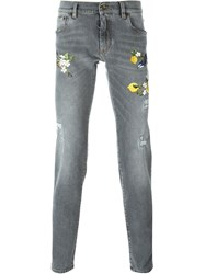 Dolce And Gabbana Embroidered Bird Jeans Grey
