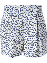 Giambattista Valli Printed Front Pleat Shorts Nude And Neutrals