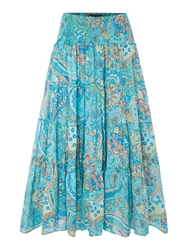 Lauren Ralph Lauren Moriah Tiered Smock Skirt Blue Multi