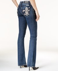 Miss Me Fleur De Lis Medium Blue Wash Bootcut Jeans Dark Wash