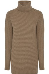Belstaff Eliora Ribbed Wool And Cashmere Blend Turtleneck Sweater Camel