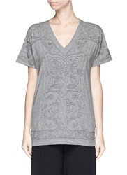 Dries Van Noten Chinese Flower Embroidery Jersey T Shirt Grey