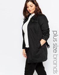 Junarose Belted Trench Coat Black