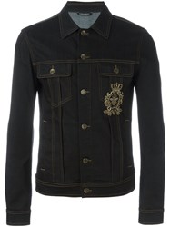 Dolce And Gabbana Embroidered Crown Bee Denim Jacket Blue