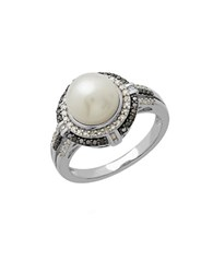 Lord And Taylor Freshwater Pearl Diamond Black Diamond Sterling Silver Ring Pearl Silver