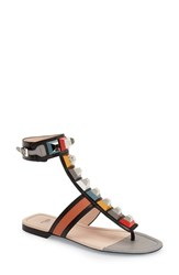 Women's Fendi 'Rainbow' Studded Colorblock Gladiator Sandal Multi Leather