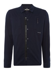 Duck And Cover Gattaca Large Check Overshirt. Navy