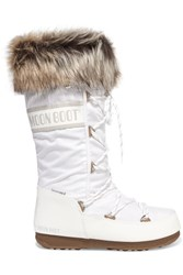 Moon Boot Monaco Faux Fur Trimmed Shell Pique And Faux Leather Snow Boots White