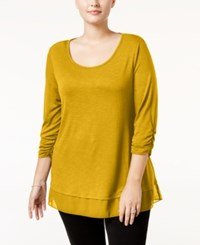 Styleandco. Style Co. Plus Size Chiffon Hem Top Only At Macy's Saffron Yellow