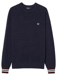Fred Perry Textured Pique Crew Neck Jumper Vintage Navy Marl