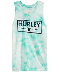 Hurley Men's Graphic Print Tie Dyed Tank Hyper Turquoise