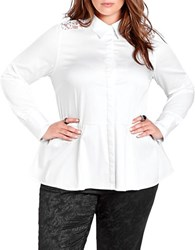 Addition Elle Michel Studio Long Sleeve Peplum Blouse White