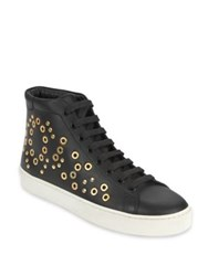 Burberry Dorney Eye Studded Leather High Top Sneakers Black