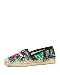Gucci Pilar Blind For Love Espadrille Flat Black