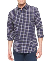 7 For All Mankind Long Sleeve Plaid Sport Shirt Blue White Navy Blue Pattern