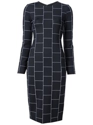 Christian Siriano Check Print Fitted Dress Black