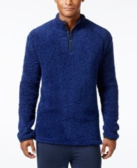 Kenneth Cole Reaction Men's Fleece Henley Lounge Top Navy