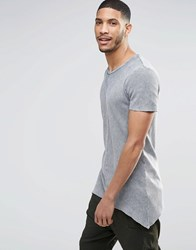 Asos Super Longline Muscle T Shirt In Waffle With Pointed Hem In Light Gray Acid Wash Lt Gray