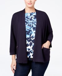 Charter Club Plus Size Open Front Cardigan Only At Macy's Deepest Navy