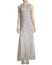 Aidan Mattox Sleeveless Keyhole Back Sequined And Beaded Godet Gown Women's