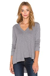Wilt Shrunken Shifted Deep V Long Sleeve Tee Brown