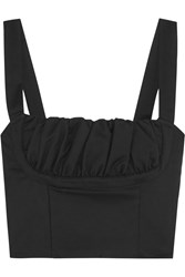 Title A Cropped Ruched Stretch Cotton Bustier Top Black