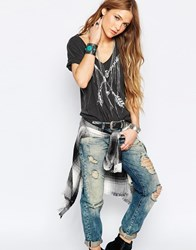 Denim And Supply Ralph Lauren Denim And Supply By Ralph Lauren Arrows And Feathers V Neck T Shirt Grey