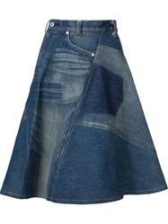 Junya Watanabe Comme Des Gara Ons High Waisted A Line Skirt Blue