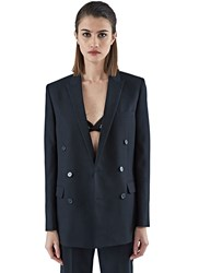 Saint Laurent Double Breasted Tuxedo Jacket Black