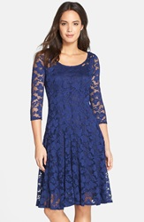 Chetta B Floral Lace Fit And Flare Dress Navy