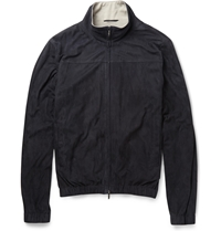 Loro Piana Cashmere And Silk Lined Suede Bomber Jacket Blue