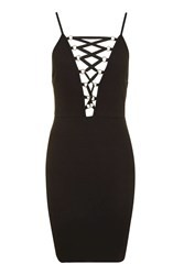 Topshop Eyelet Lace Up Dress Black