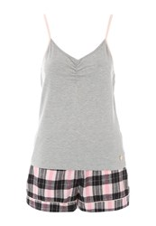 Jane Norman Grey And Check Shorts Nightwear Pj Set Multi Coloured