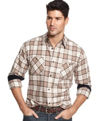 Weatherproof Vintage Plaid Flannel Long Sleeve Shirt Teakwood