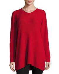 P. Luca Boatneck Ribbed Sweater Tunic Red