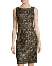 Chetta B Glitter Lace Sheath Dress Black Gold