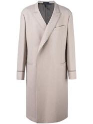 Lanvin Long Double Breasted Coat Nude Neutrals